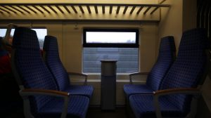 Empty seats on train in motion stock footage