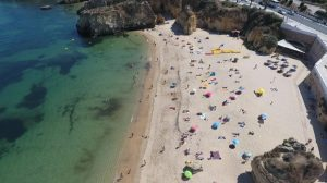 aerial drone footage of lagos beach portugal gallery image
