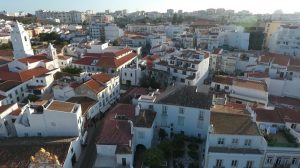 aerial drone video footage of Lagos city portugal in summer time