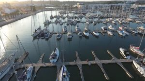 boats in marina panning sunset gallery image