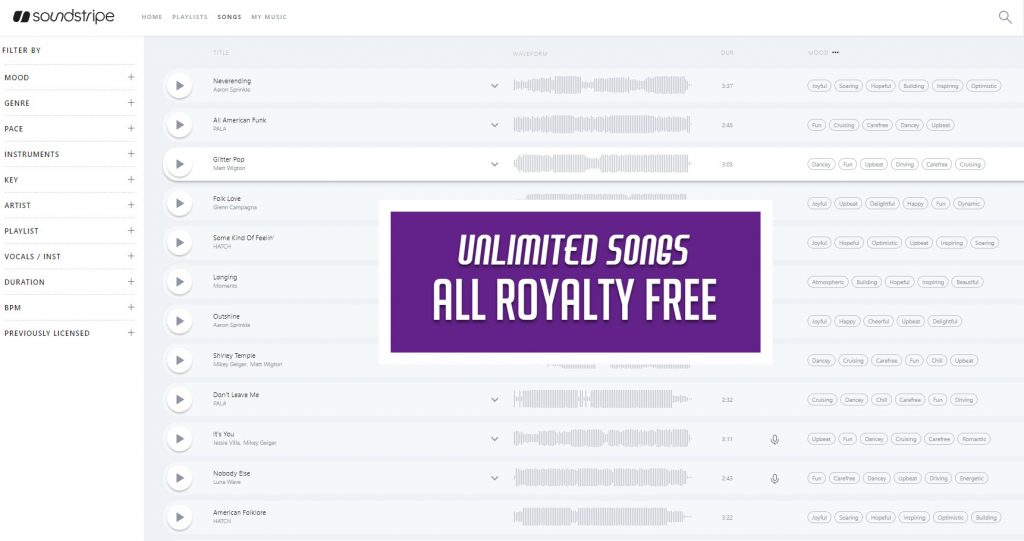 Soundstripe player unlimited songs banner