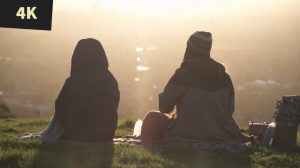 royalty free stock video 4K Sunset picnic on hill overlooking City Adelaide 2