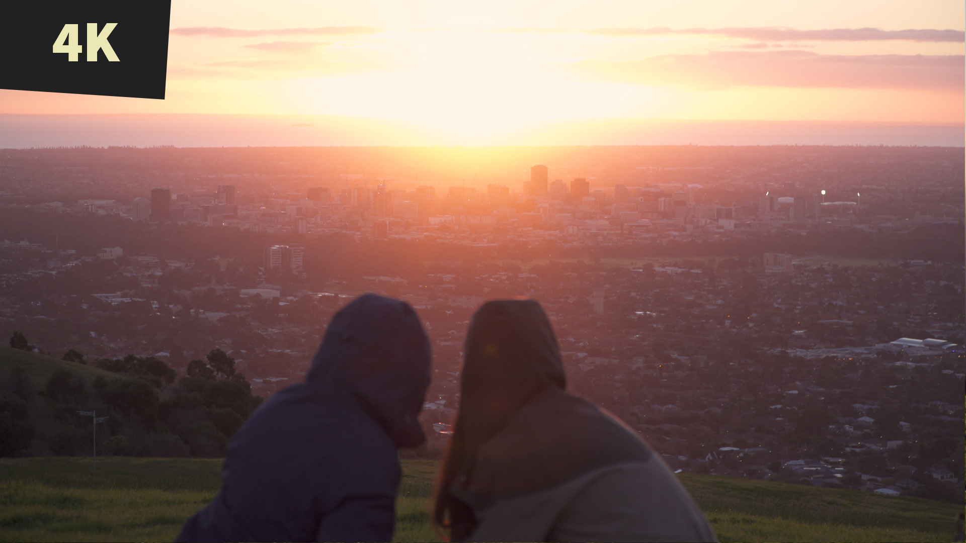 royalty free stock video 4K Sunset picnic on hill overlooking City Adelaide 5